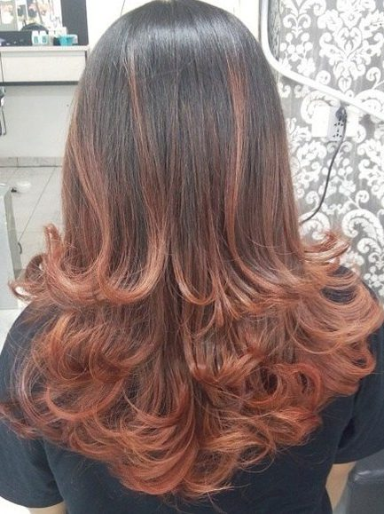 Auburn Balayage For Dark Brown Hair