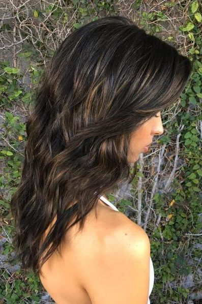 Brown Layered Hair With Gloss Smudging