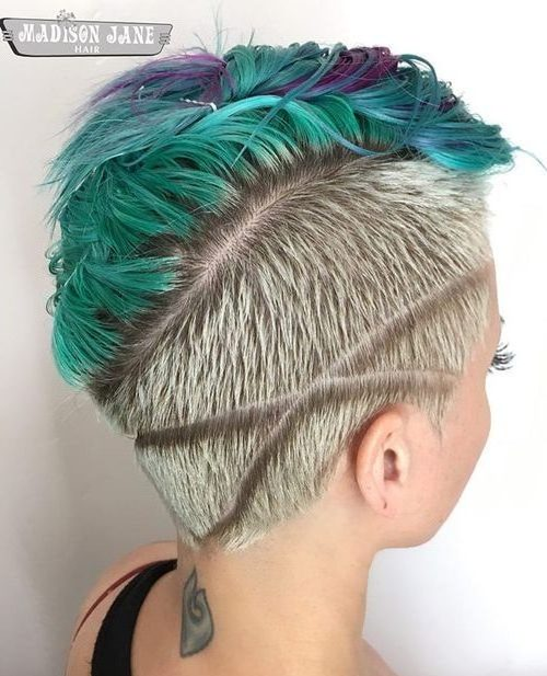 Asymmetrical Teal Dye Undercut
