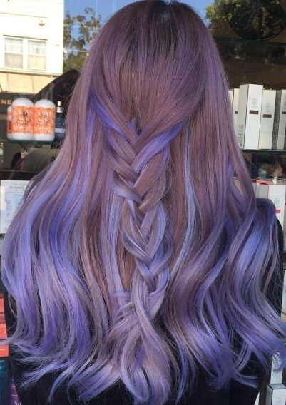 Long Lavender Balayage Hair