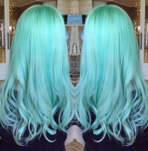 Long Pastel Mint Hairstyle