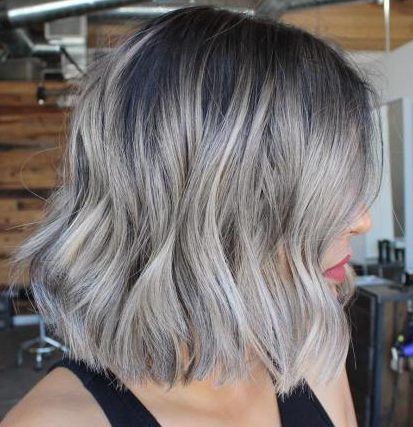 Choppy Gray Bob with Root Shadow