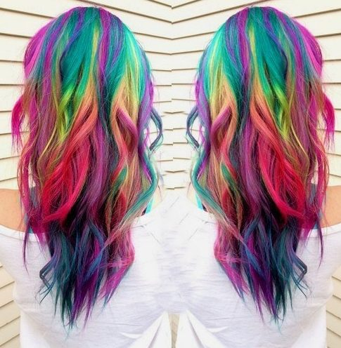 long layered rainbow hair
