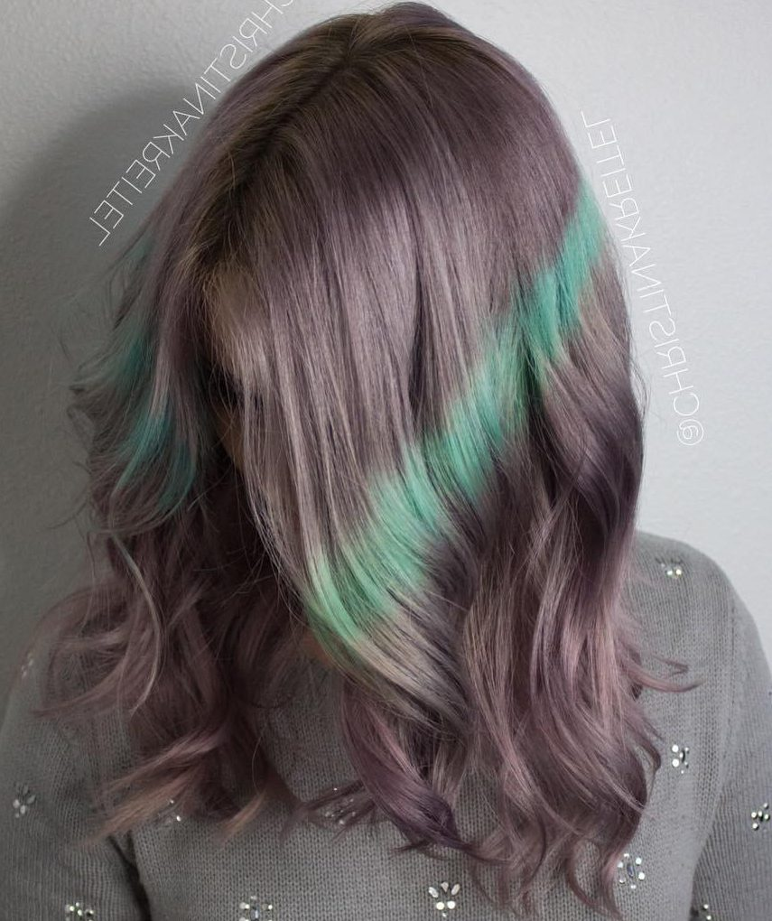 Pastel Purple Hair With Green Streaks