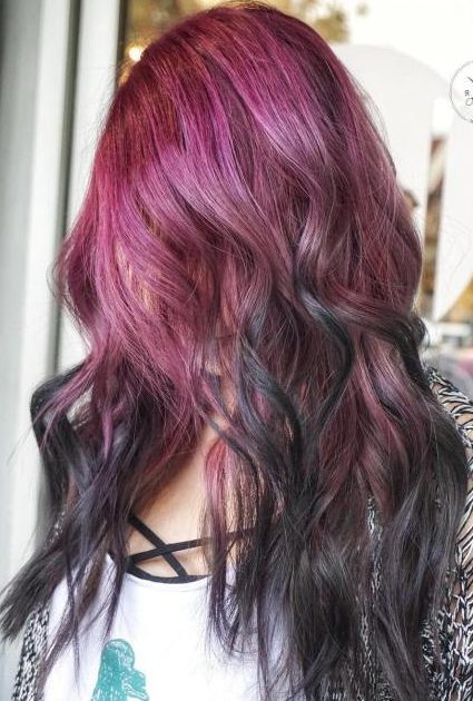 Burgundy And Black Balayage Hair