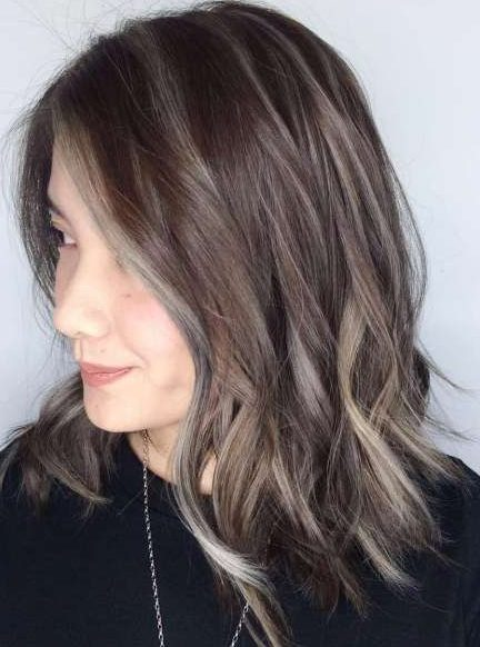 Choppy Brown Lob With Gray Highlights