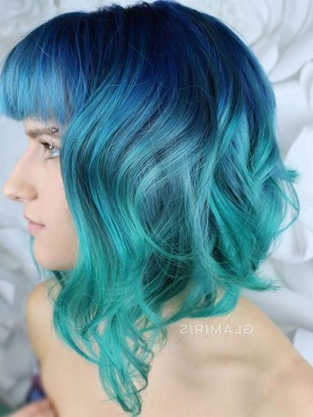 Angled Blue To Teal Ombre Bob