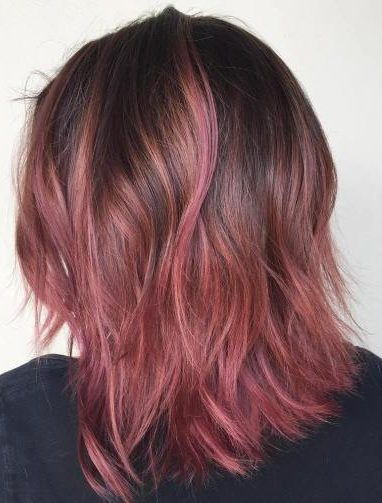 brown to pink ombre bob
