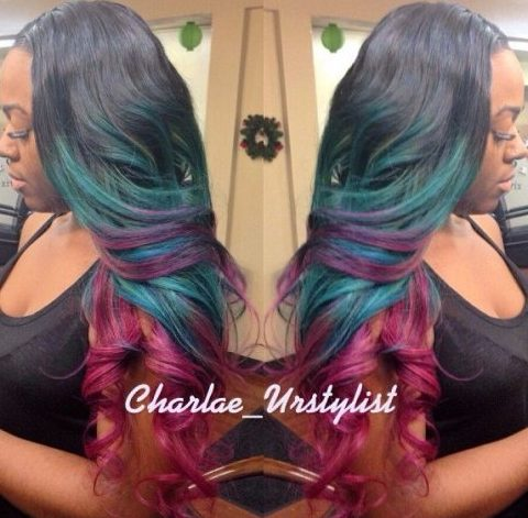 Black Hair With Teal And Burgundy Highlights
