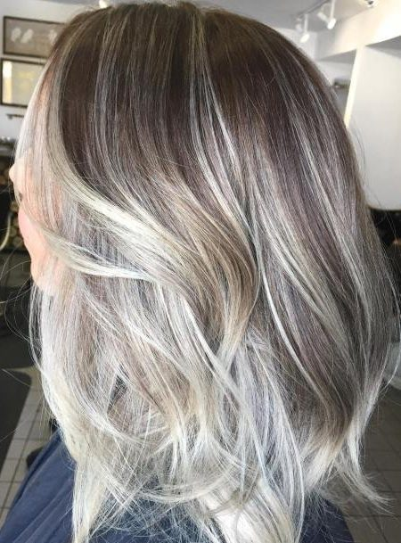 Brown Layered Hair With Silver Balayage