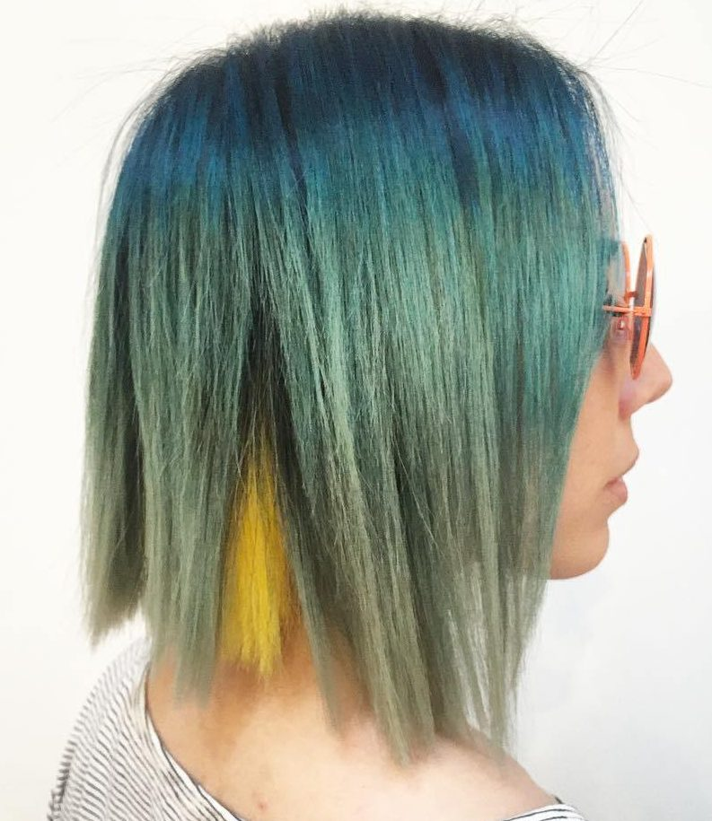 Green Ombre With Yellow Peekaboo Highlights