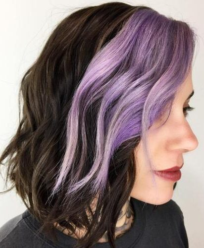 Brown And Lavender Wavy Bob