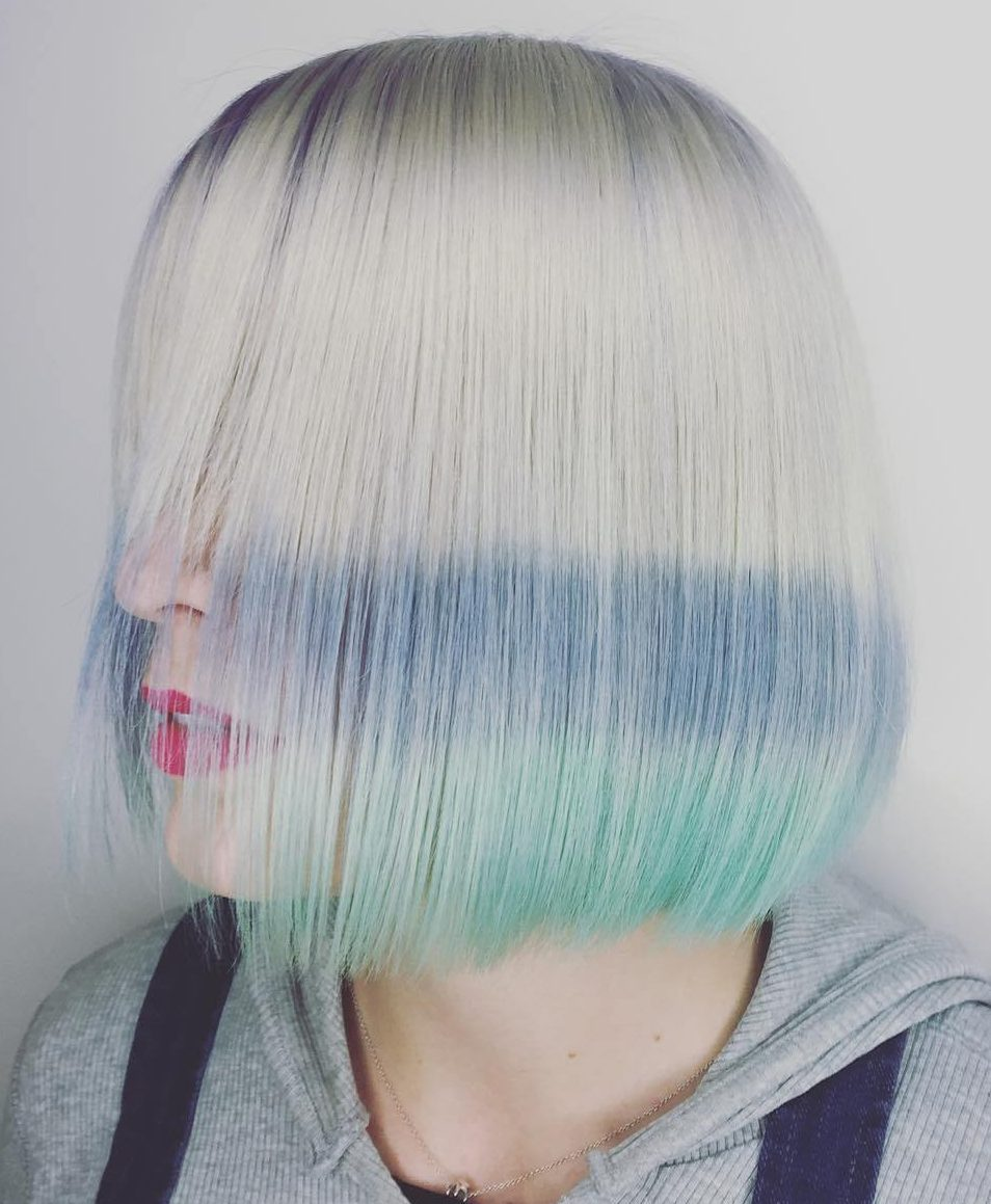 Platinum Bob With Blue And Green Dip Dye