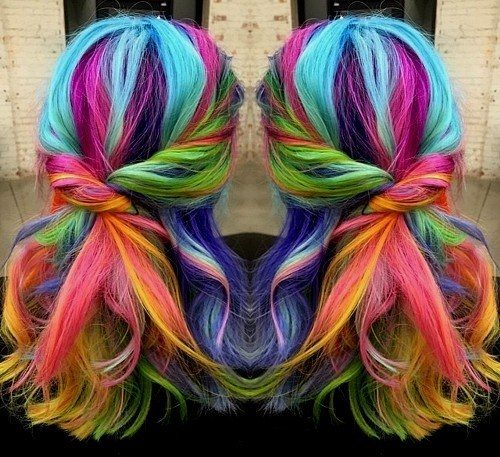 medium length rainbow hair