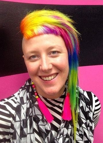 funky asymmetrical rainbow hairstyle