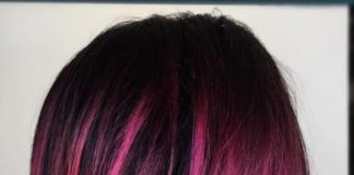 black bob with fuchsia balayage