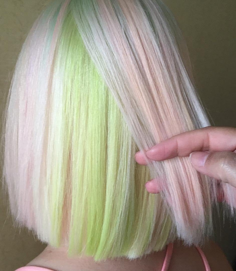 Pastel Pink And Green Hair