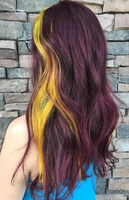 Purple Brown Hair With Yellow Highlights