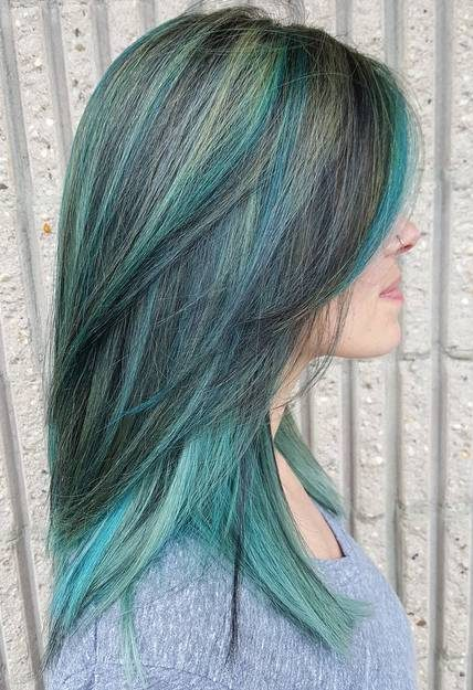 Teal Balayage For Black Hair