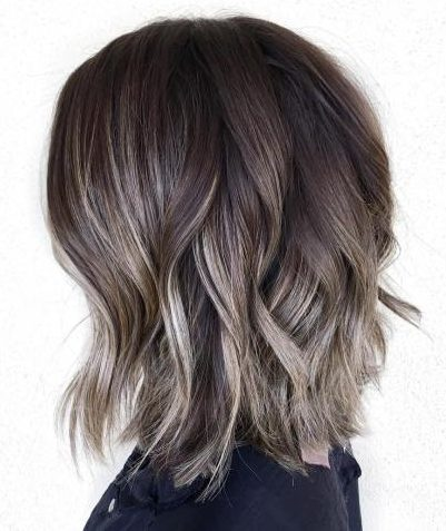 Ash Brown Highlights For Dark Brown Bob