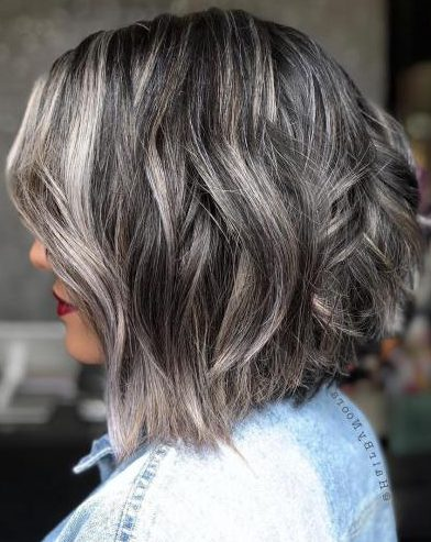 Choppy Brunette Bob With Silver Highlights