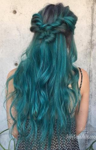 Long Teal Hair With Dark Roots