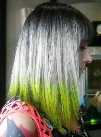 Black And Blonde Bob With Green Dip Dye