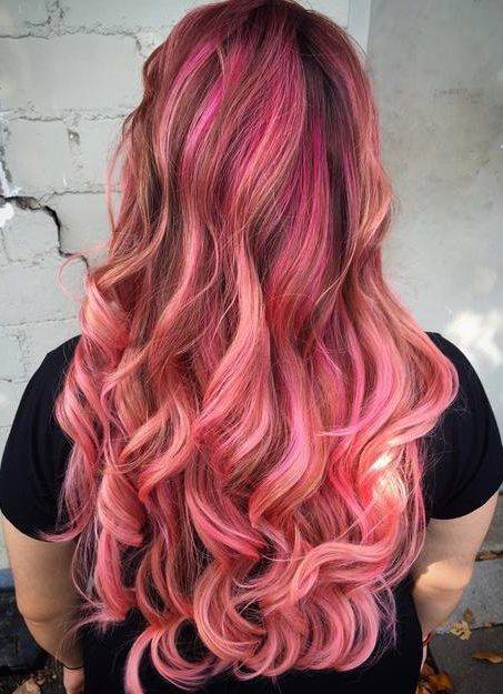 long brown hair with pink balayage highlights
