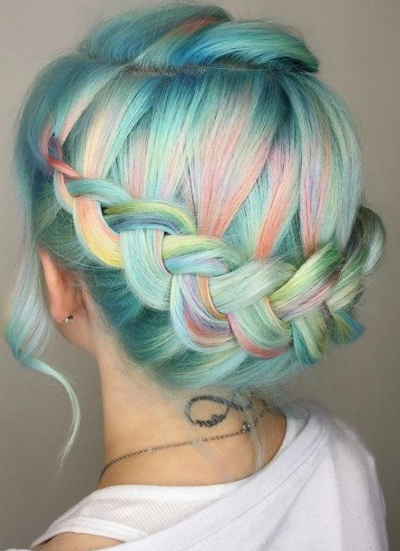 Pastel Turquoise Hair With Highlights