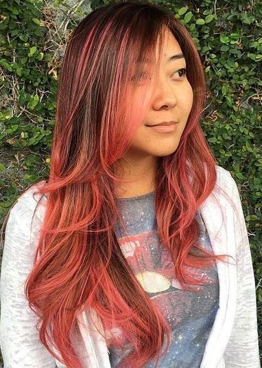 brown hair with pink ombre highlights