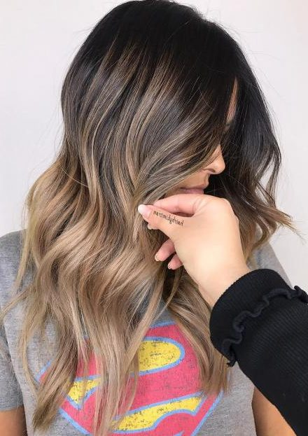 Beige Balayage and Brunette Shadow Root
