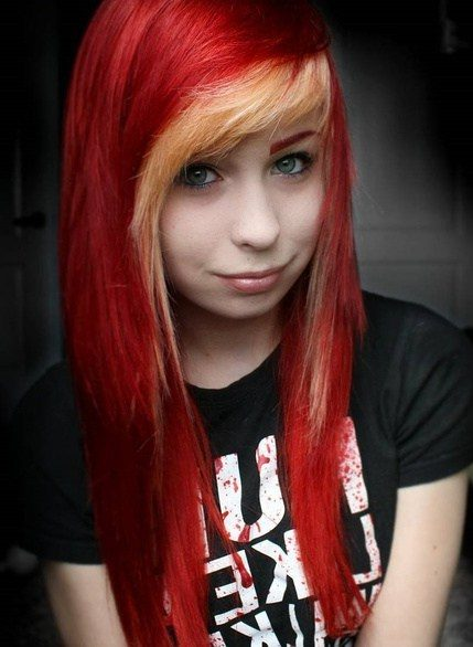 Red Hair With Blonde Fringe