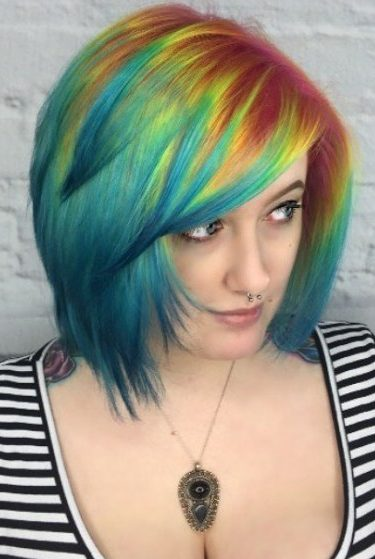 Turquoise Bob With Red And Yellow Roots