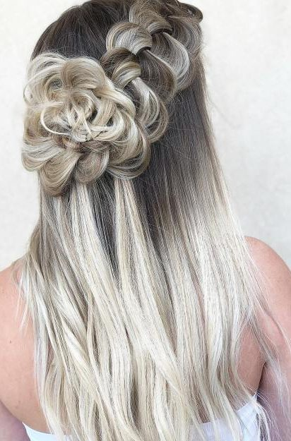 Blonde Shadow Root And Flower Braid